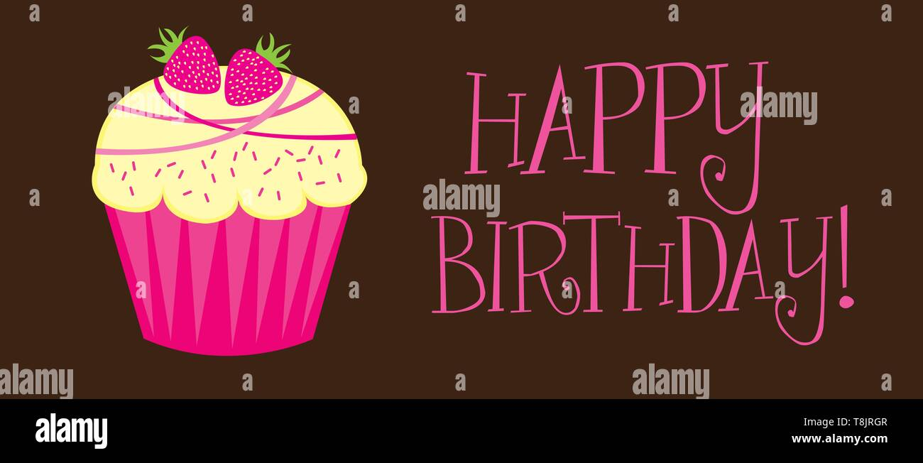 happy birthday with cupcake over brown background vector - Stock Vector