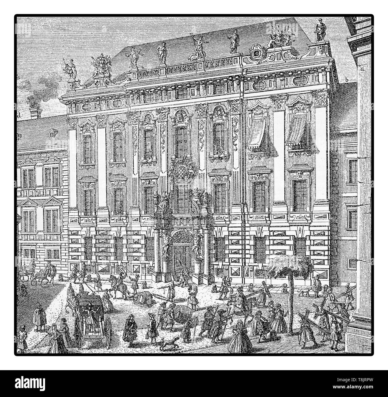 Street scene in Vienna 1733 : Daunschen palace facade at the Freyung square - Stock Image