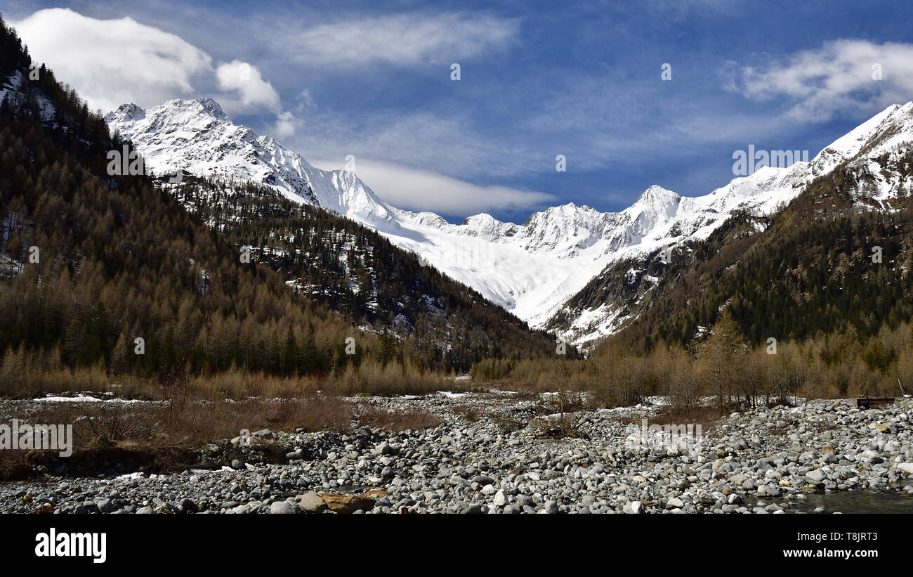 Picture of the glacial moraine left in the Chiareggio Valley by the secular action of the Disgrazia glacier - Stock Image