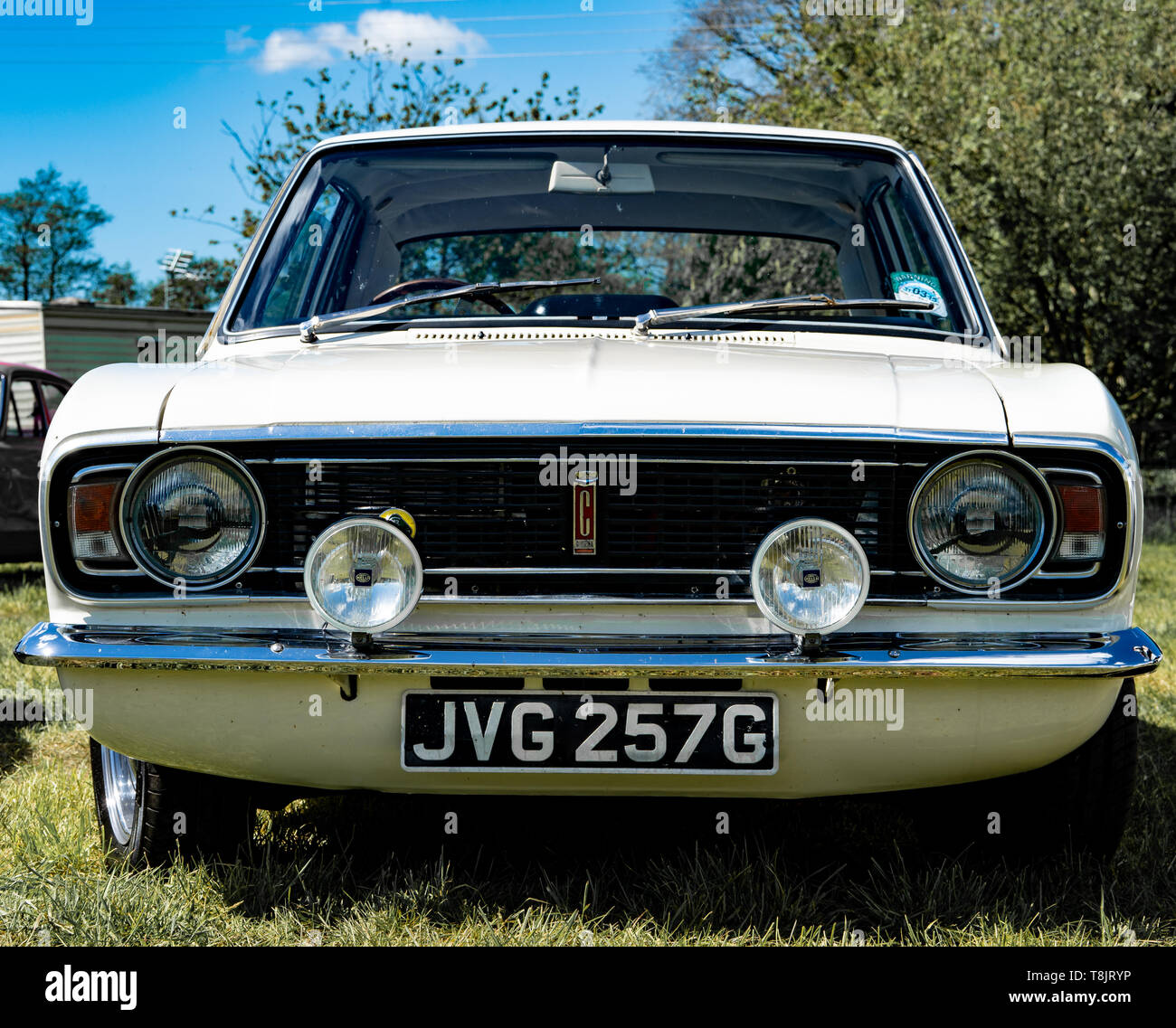 Lotus Cortina mark 2 (Ford) classic car, white,1968 year, UK Stock Photo