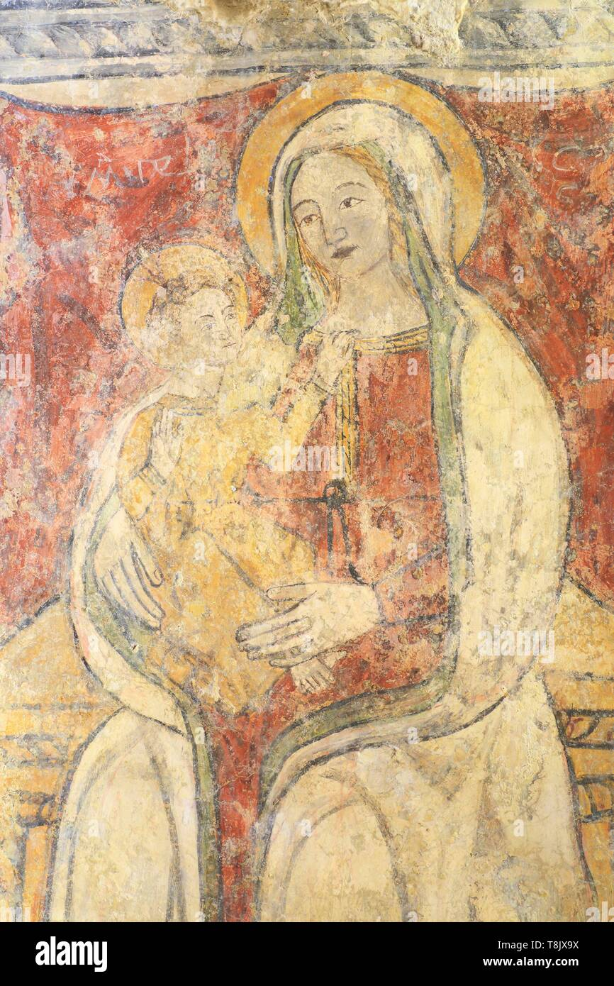 Italy, Basilicata, Matera, troglodyte old town listed as World Heritage by UNESCO, European Capital of Culture 2019, Sassi di Matera, Sasso Caveoso, Santa Lucia alle Malva (St. Lucia of the Mauves) rock church of the 9th century, painting mural of the Madonna and Child (16th century) - Stock Image