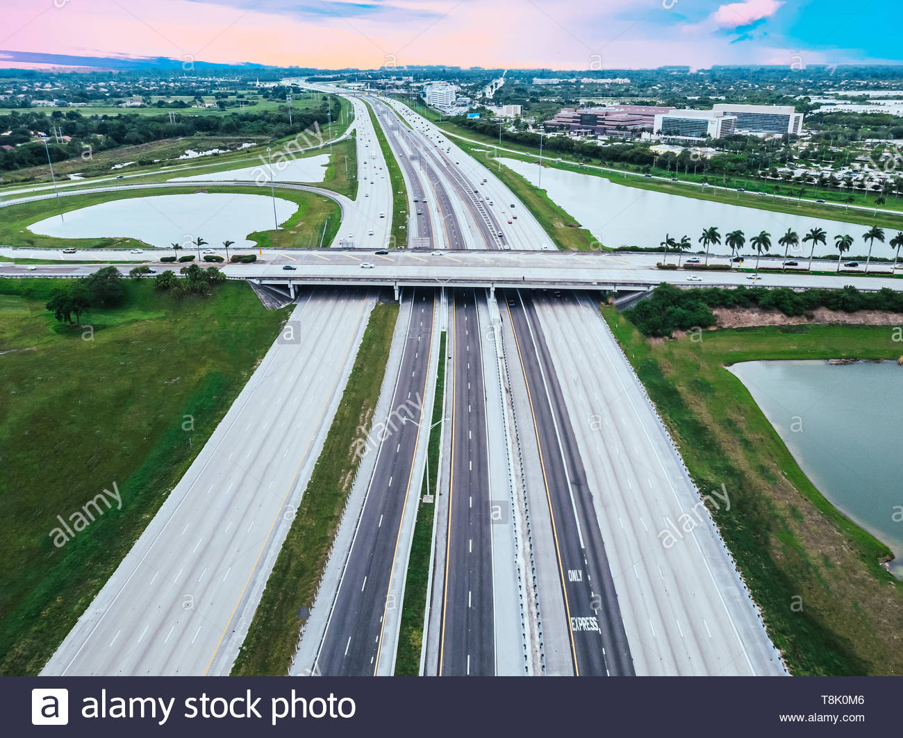 Regular car traffic on Interstate I75 South Bond in South Florida, USA, aerial view - Stock Image