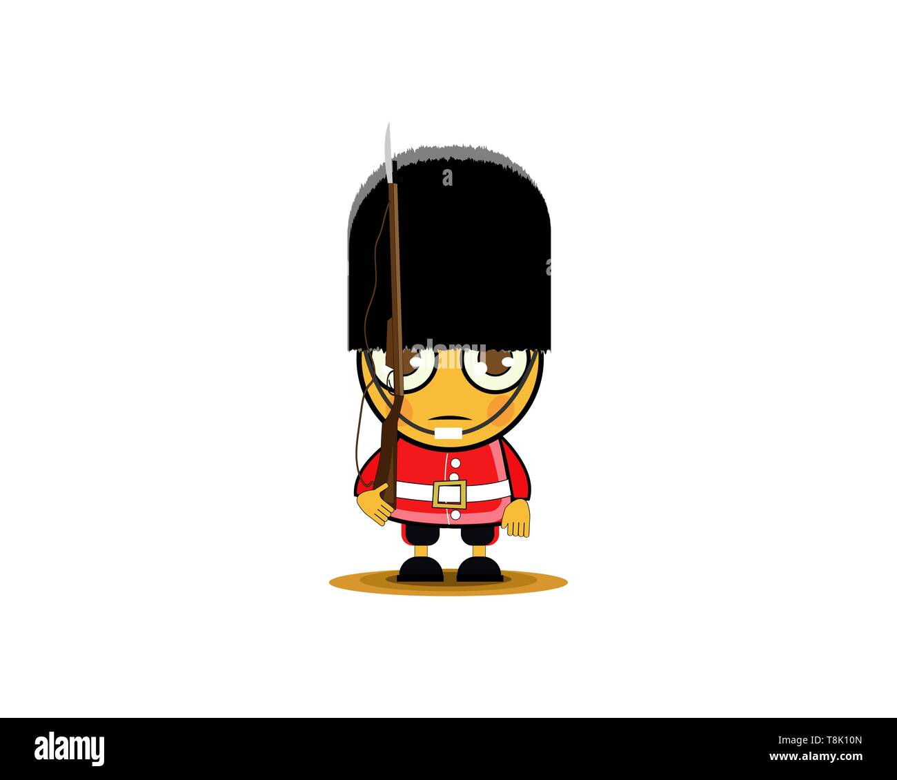 Cartoon British Royal Soldier with weapon . Vector illustration. - Stock Image