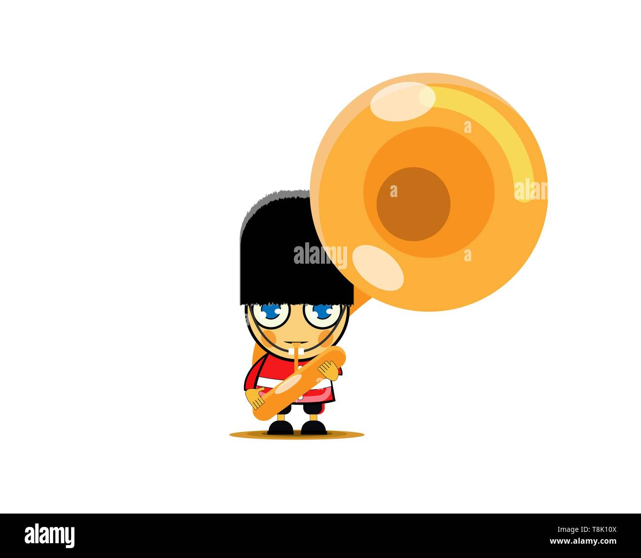 Soldier in red uniform playing french horn, member of army military band with musical instrument. Vector Illustration - Stock Image