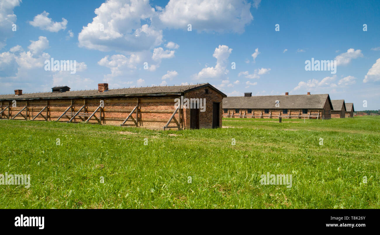 Prison Barracks in  Auschwitz  concentration camp - Stock Image