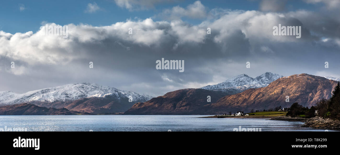 The hills on the Ardgour Penninsula in their winter colours as viewed from near Ballachulisch - Stock Image