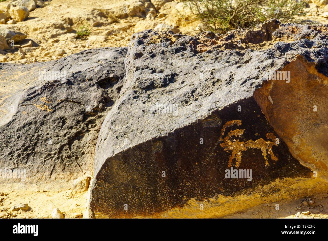 Ancient rock engravements near Sde Boker, the Negev Desert, Southern Israel - Stock Image