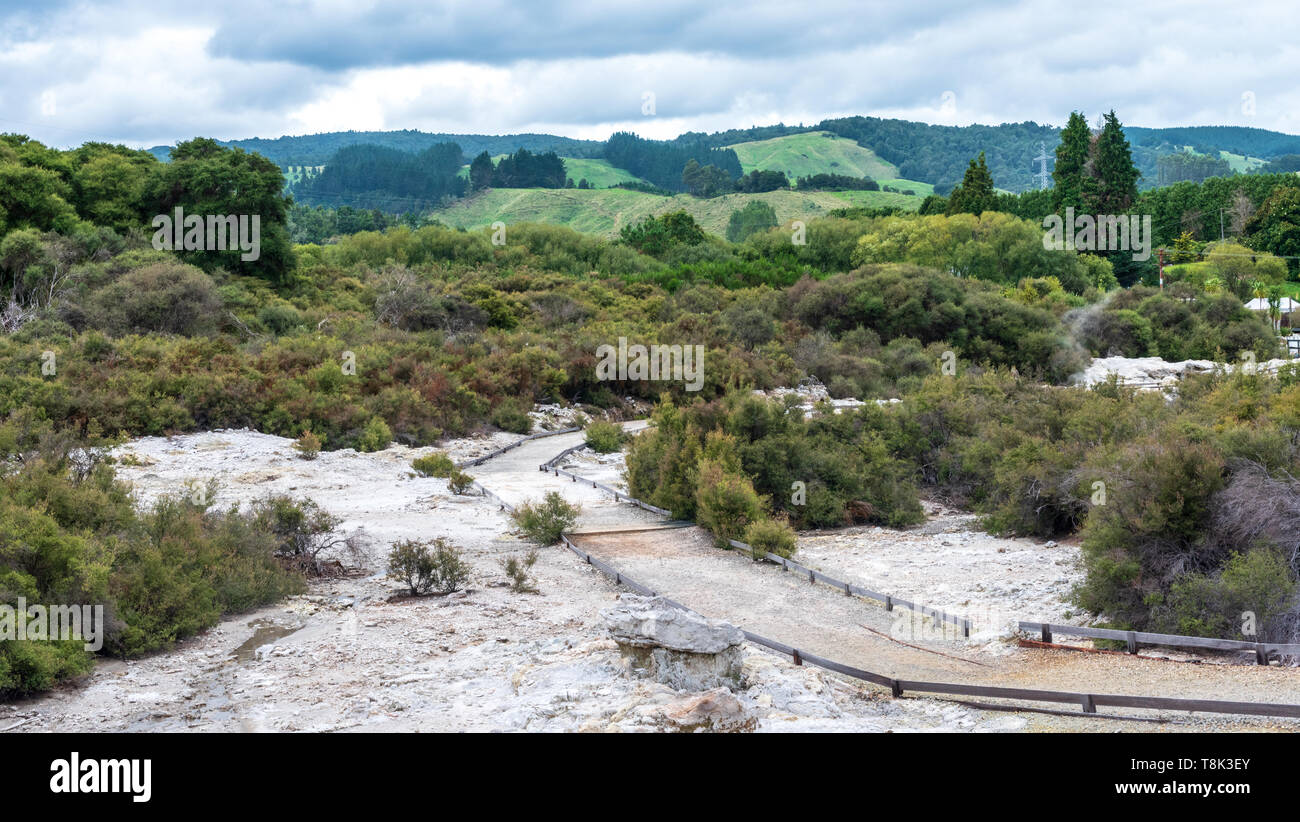 50mm landscape photo from Hell's Gate in New Zealand overlooking the surrounding countryside. - Stock Image