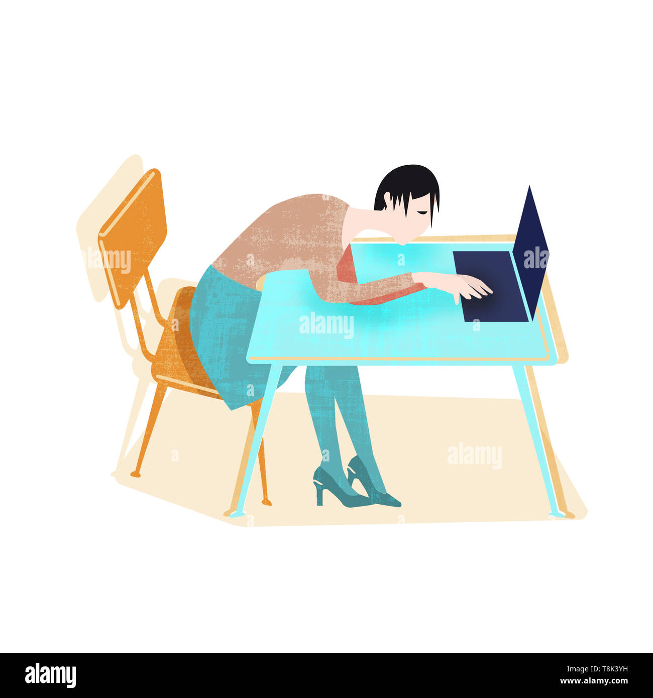 exhausted women sitting behind desk with laptop - Stock Image