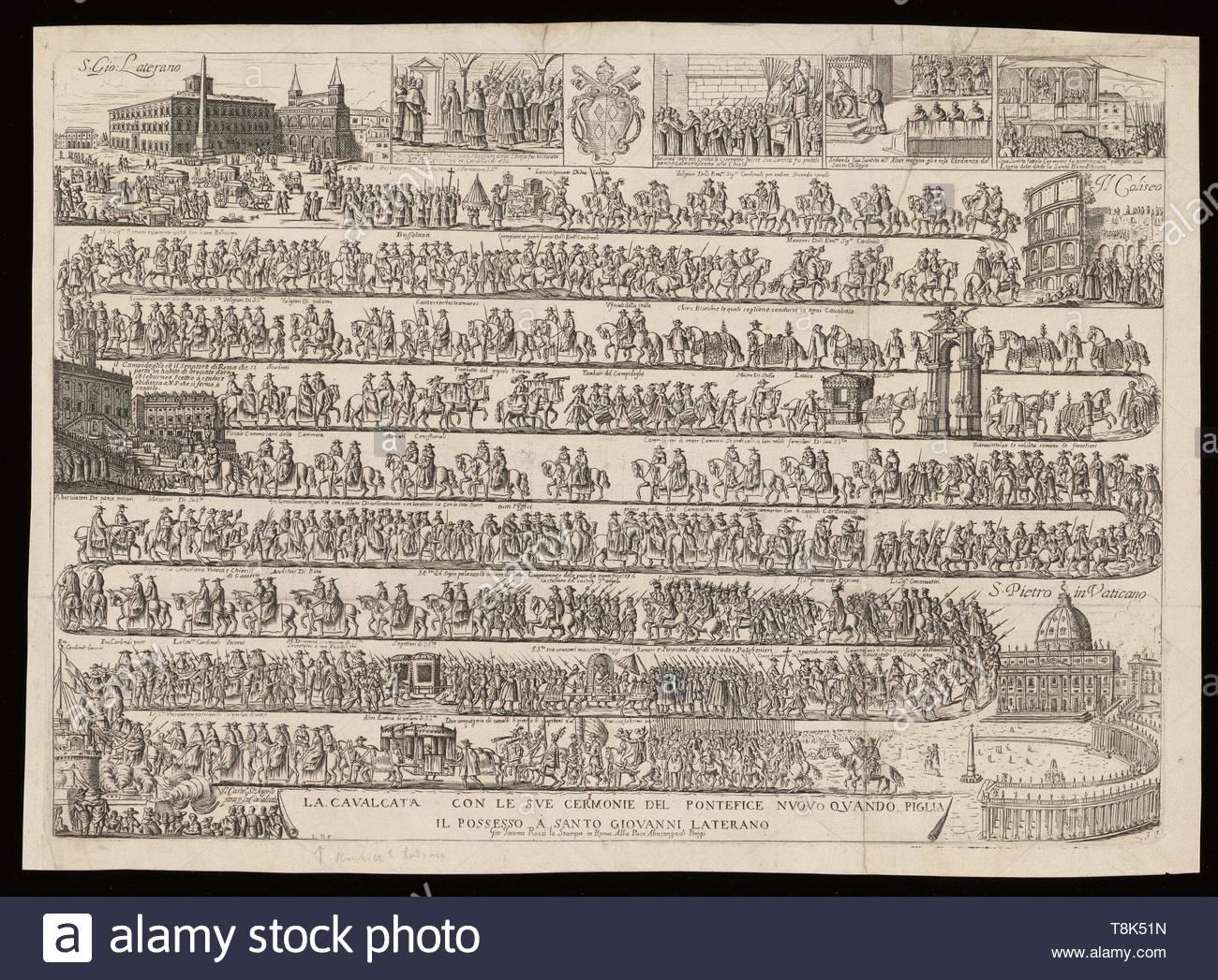 Rouhier, Louis, active 1650, printmaker.-La cavalcata con le sue cerimonie del Pontefice nuovo quando piglia il possesso a Santo Giovanni Laterano, [circa 1667] - Stock Image