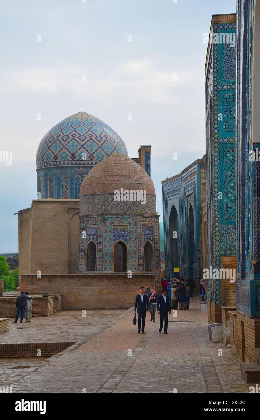 Samarkand, UNESCO Weltkulturerbe in Usbekistan: In der Totenstadt Shohizinda Stock Photo