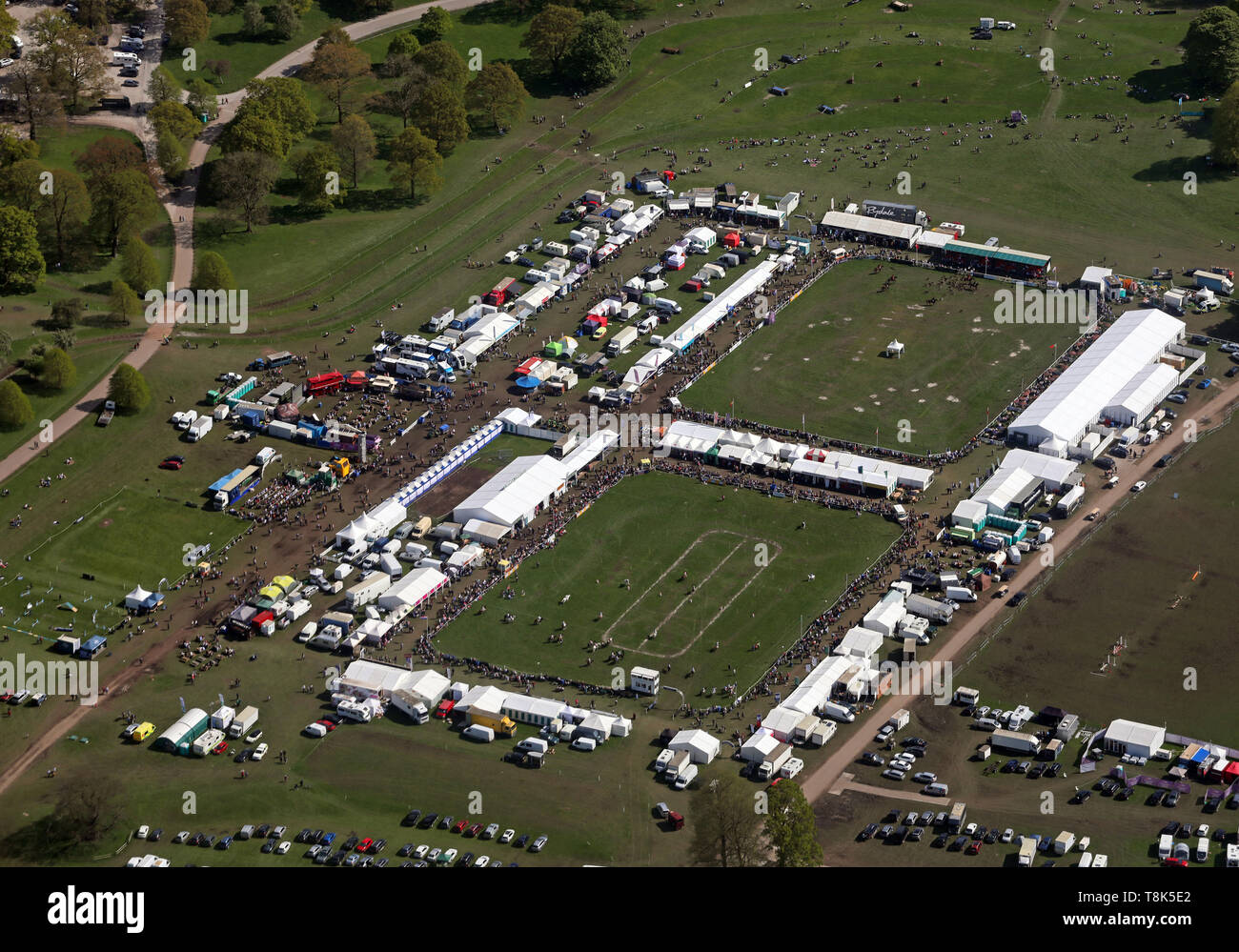aerial view of the Dodson & Horrell Chatsworth International Horse Trials at Chatsworth House on the 12th May 2019 - Stock Image