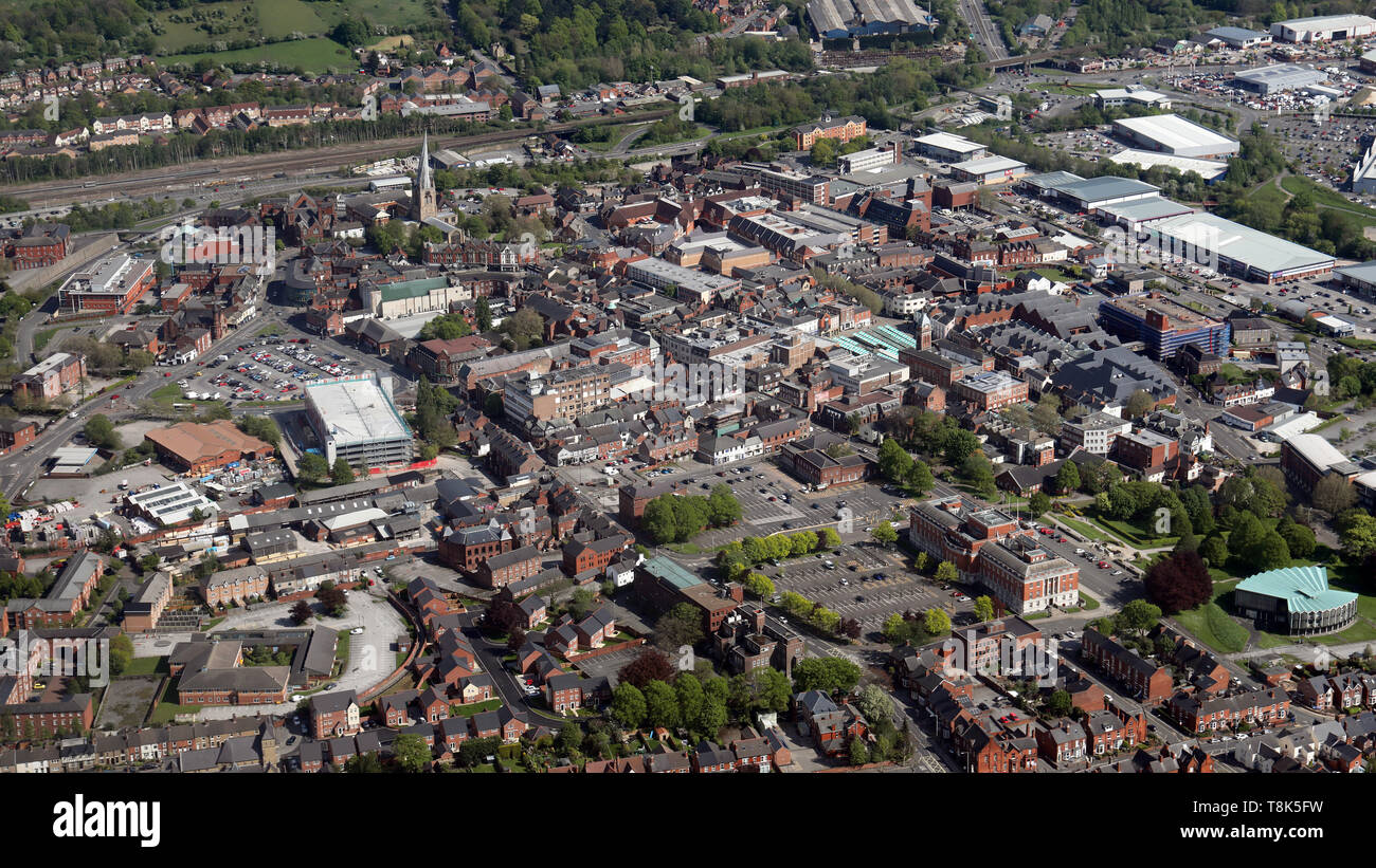 aerial view of Chesterfield town centre Stock Photo