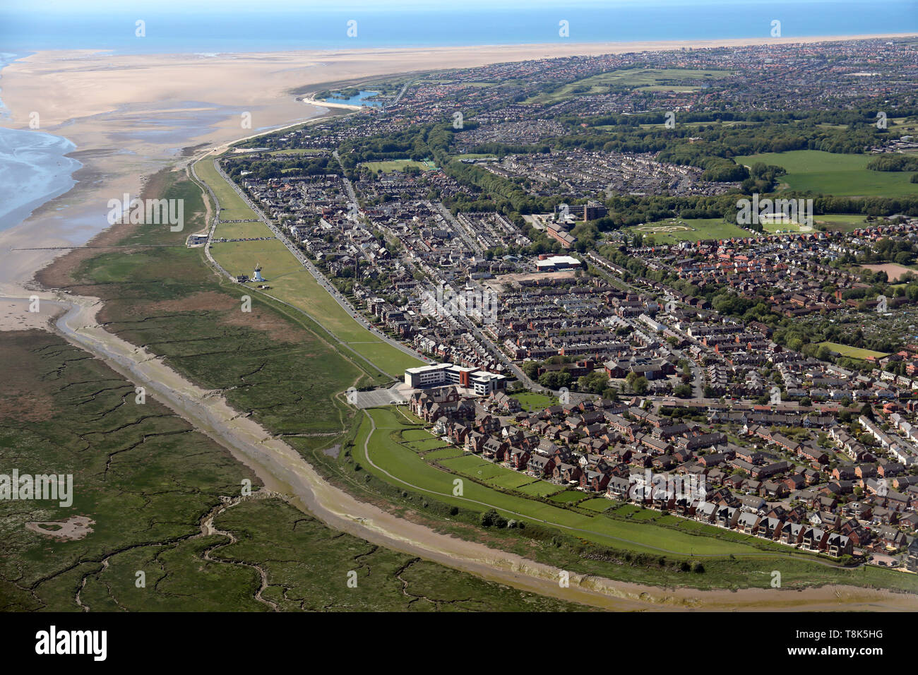 aerial view of Lytham & Lytham St Annes, a seaside resort on the Lancashire coast - Stock Image