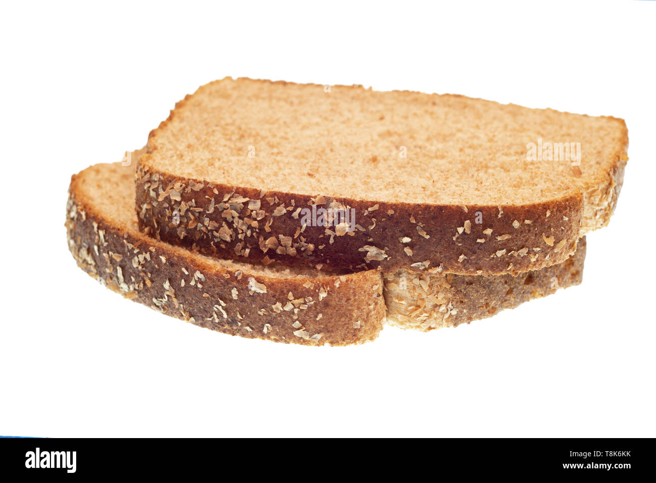Two Slices Brown Bread Isolated Stock Photos Two Slices