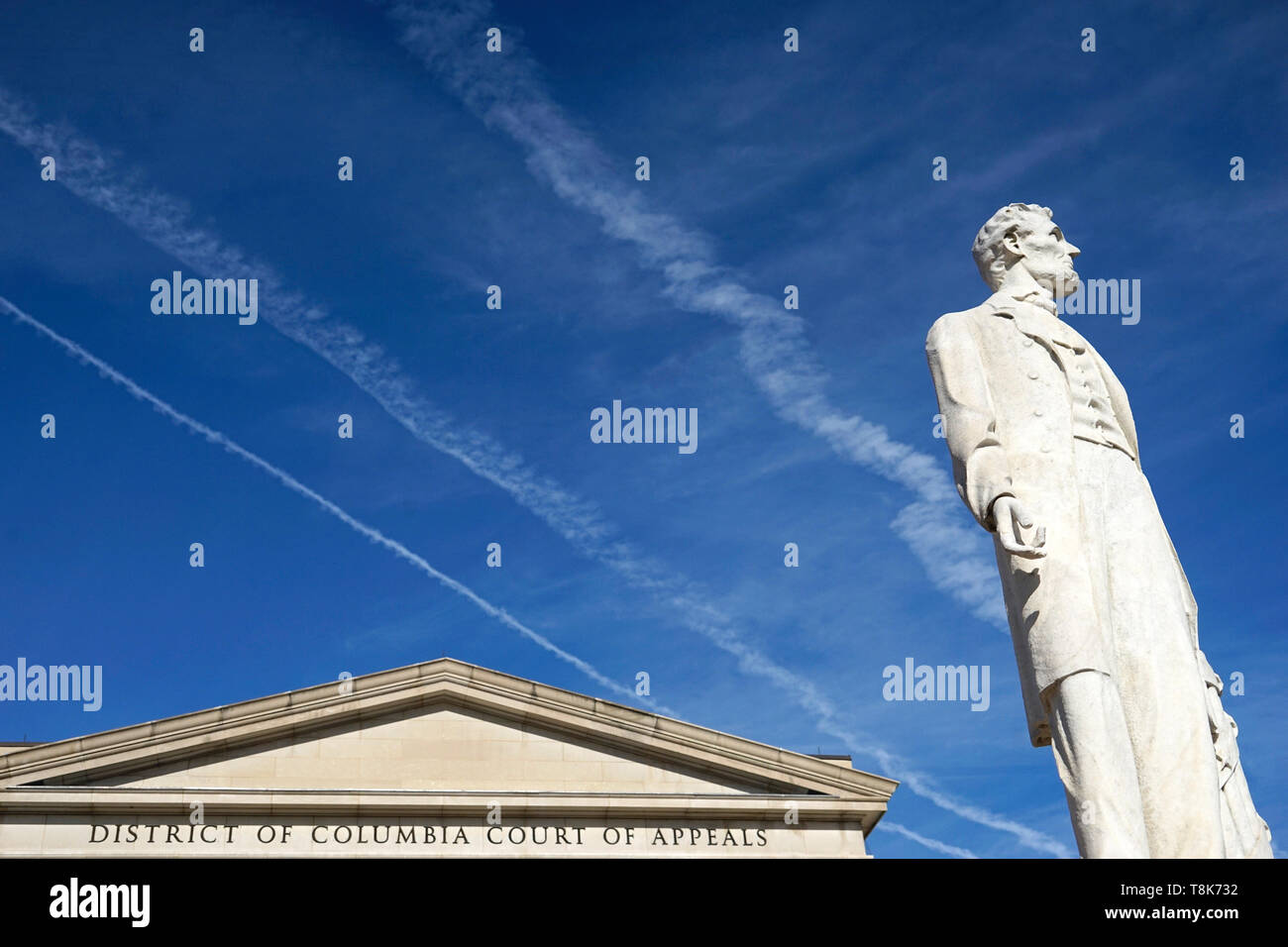 The marble statue of Abraham Lincoln by Lot Flannery in front of District of Columbia Court of Appeals. Judiciary Square. Washington D.C.USA Stock Photo