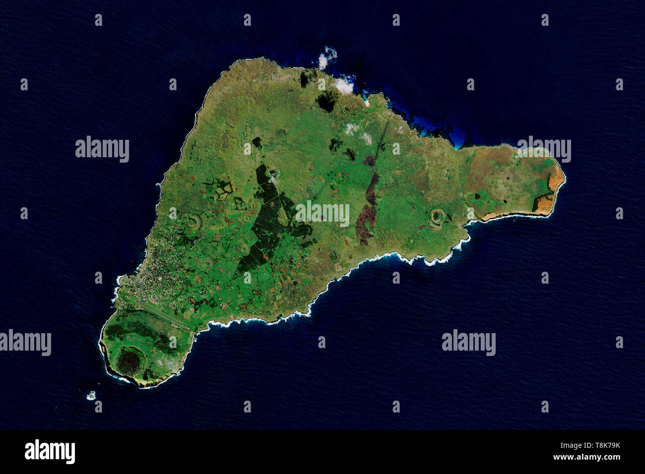Easter Island in the southeastern Pacific Ocean seen from space - contains modified Copernicus Sentinel Data (2019) Stock Photo