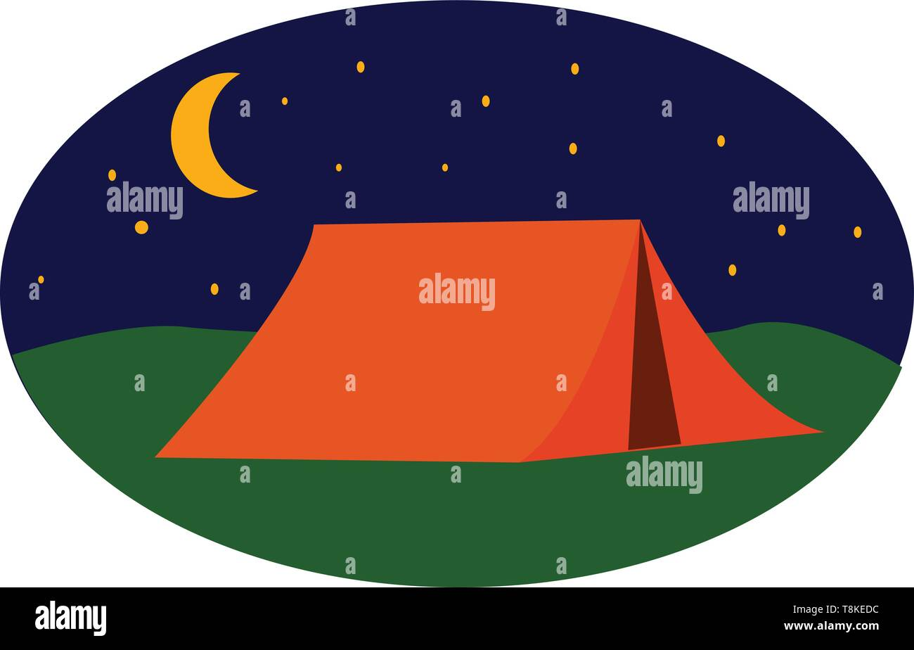 A landscape of a campsite with a brown tent over green grasslands at night and a blue sky with the crescent moon and twinkling stars complete the back - Stock Image