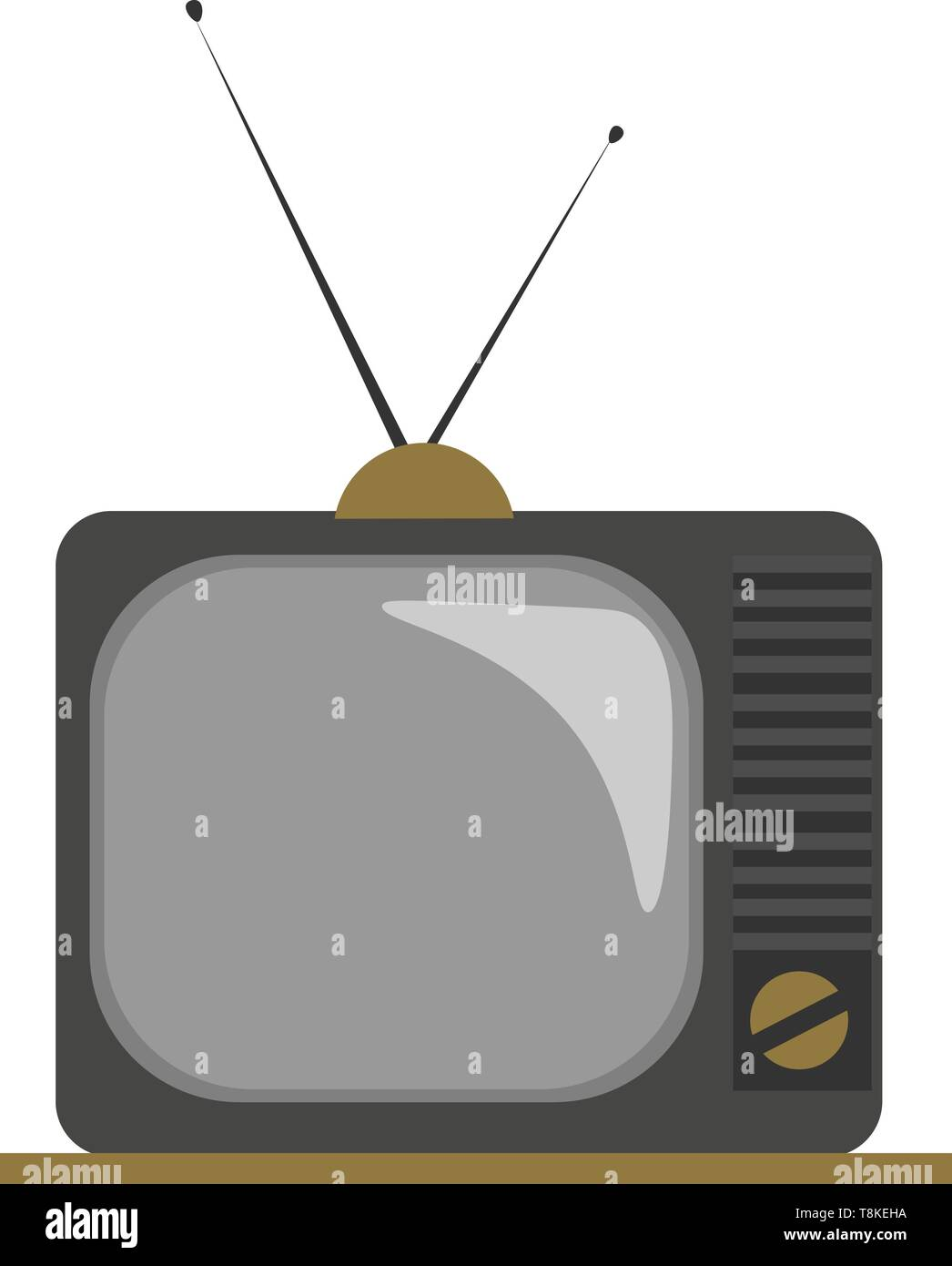 Clipart of an old fashioned TV with two attachable antennas, and a knob on the front to illuminate the scene and adjust the volume of the sound, vecto - Stock Vector