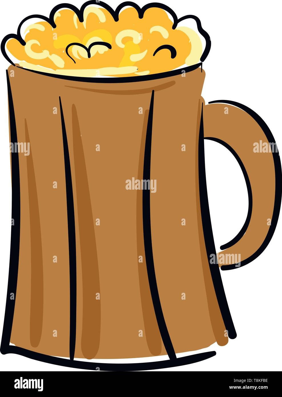 Beer is an alcoholic drink made from grain and hops., vector, color drawing or illustration. Stock Vector