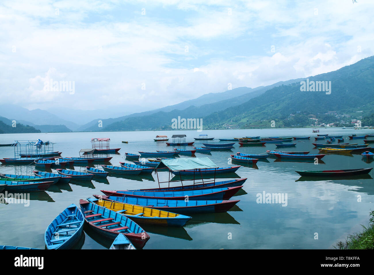 Colorful Boats On Beautiful phewa Lake,Pokhara, Nepal - Stock Image