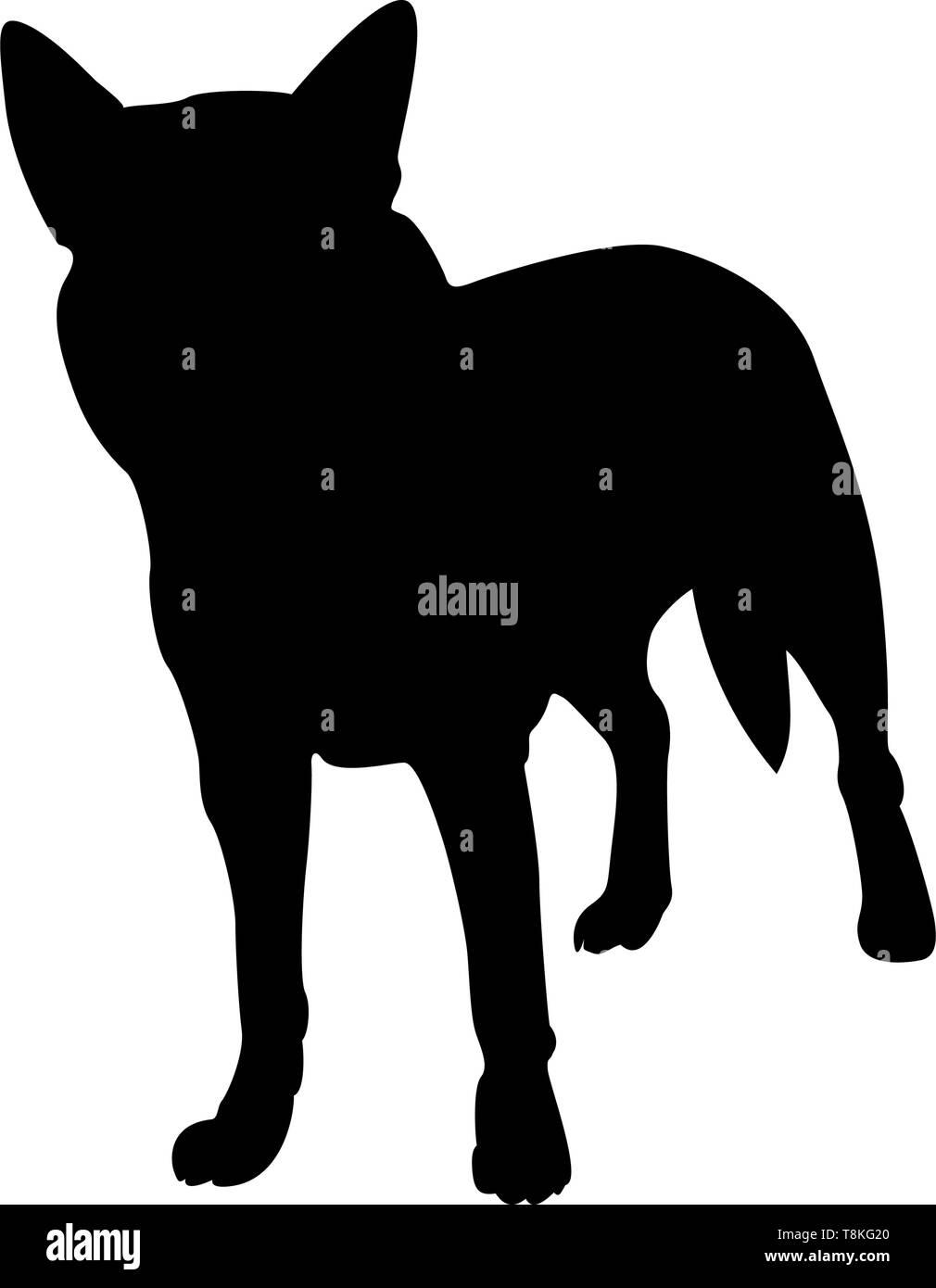 Australian Dog Silhouette. Smooth Vector Illustration. Stock Vector