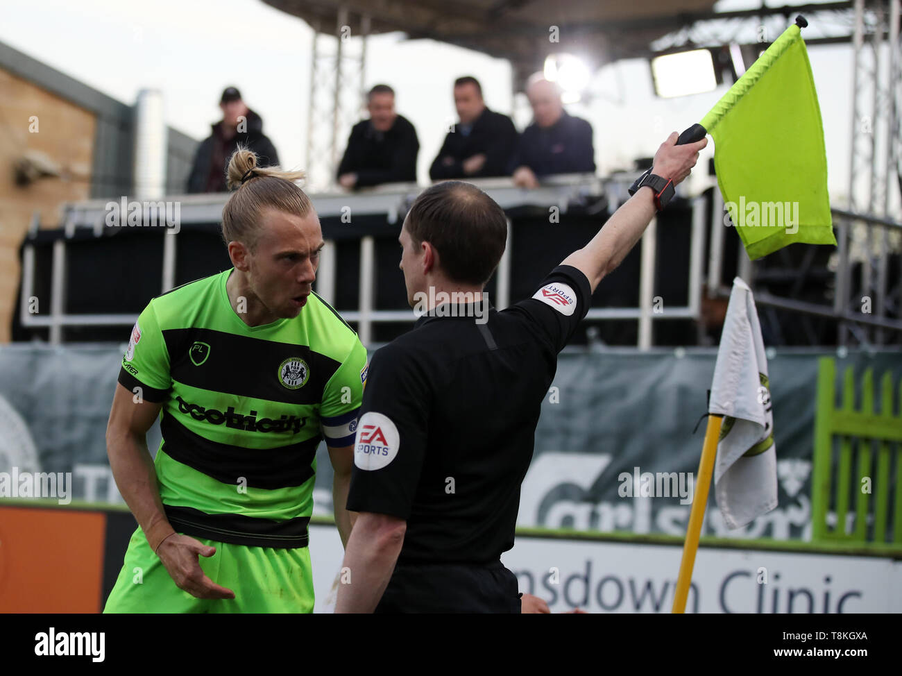 Forest Green Rovers' Joseph Mills complains to the linesman during the Sky Bet League Two, Play-Off, Second Leg match at The New Lawn, Nailsworth. - Stock Image