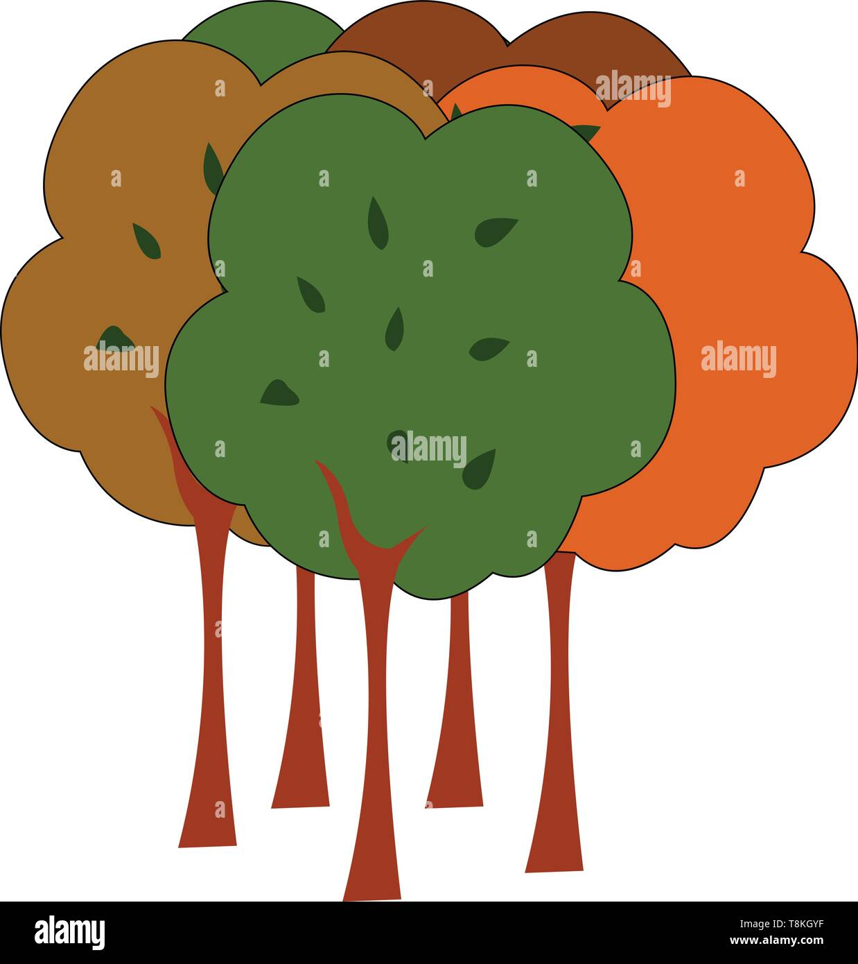 A Colour Illustration Of A Forest With Many Trees Vector Color Drawing Or Illustration Stock Vector Image Art Alamy