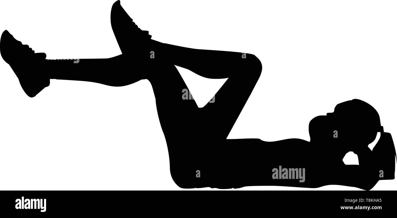 Silhouette of a woman who working out, illustration, vector on white background. - Stock Vector