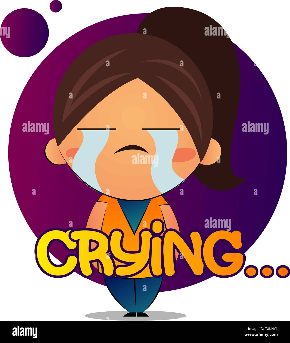 Girl with brown ponytail is crying, illustration, vector on white background. - Stock Image