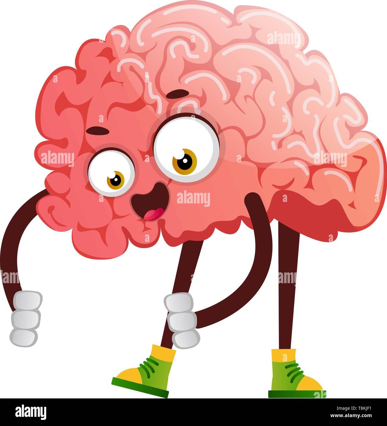 Brain is picking up something, illustration, vector on white background. Stock Vector
