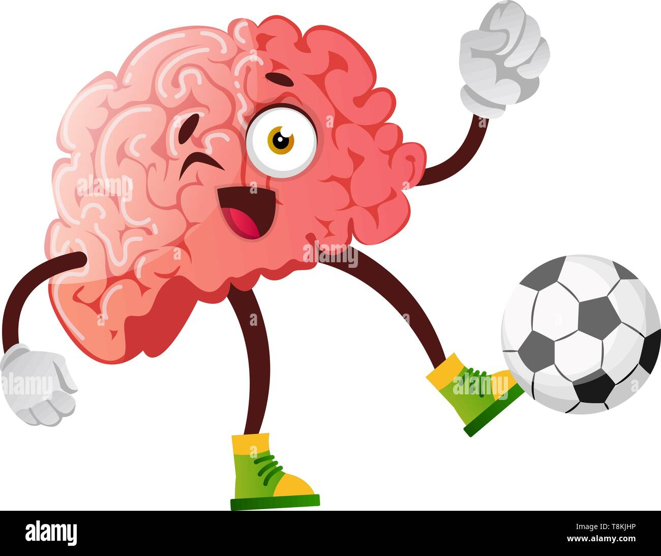 Brain is playing football, illustration, vector on white background. - Stock Vector