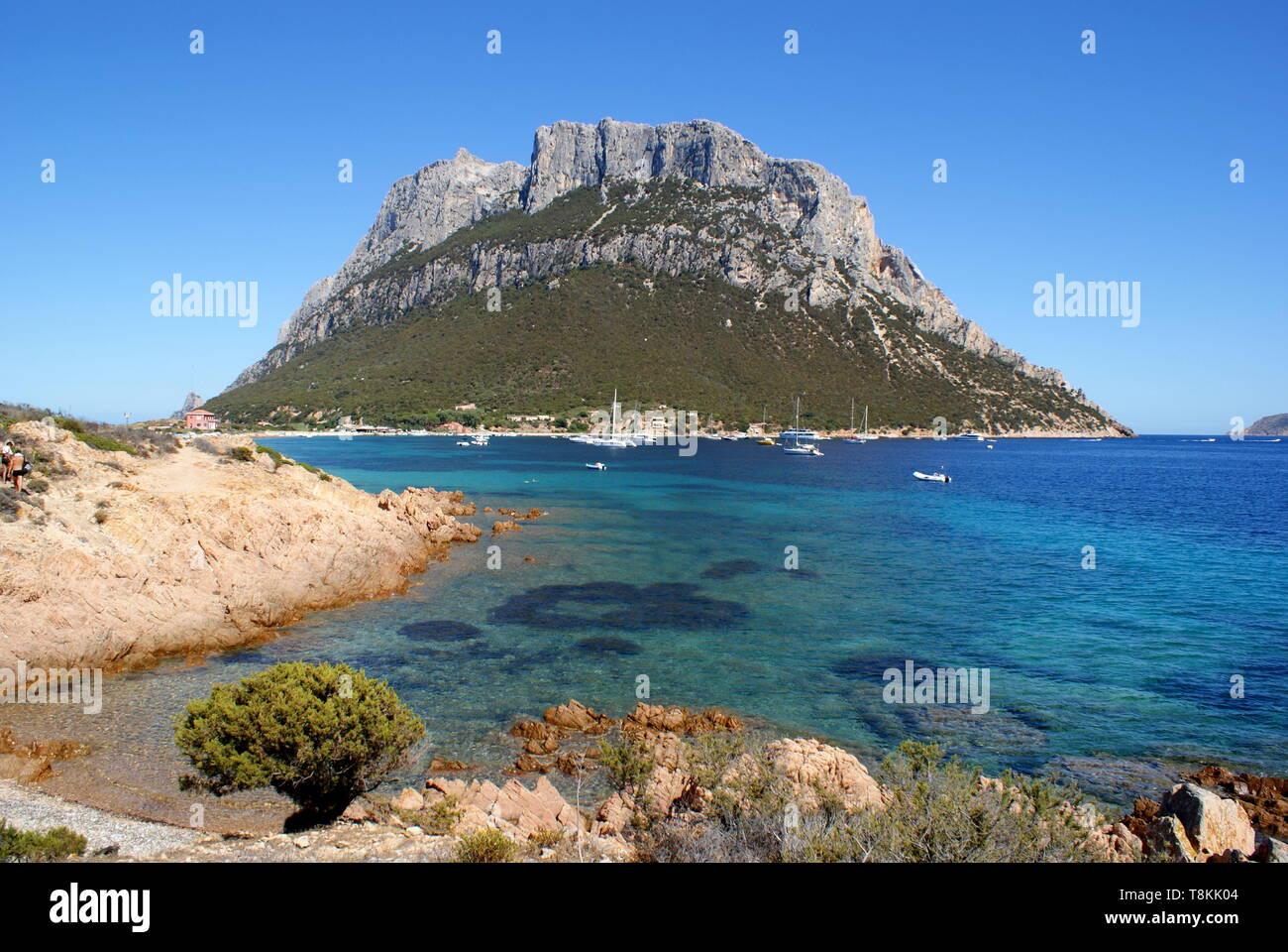 Tavolara island, Olbia-Tempio, Sardinia, Italy - Stock Image