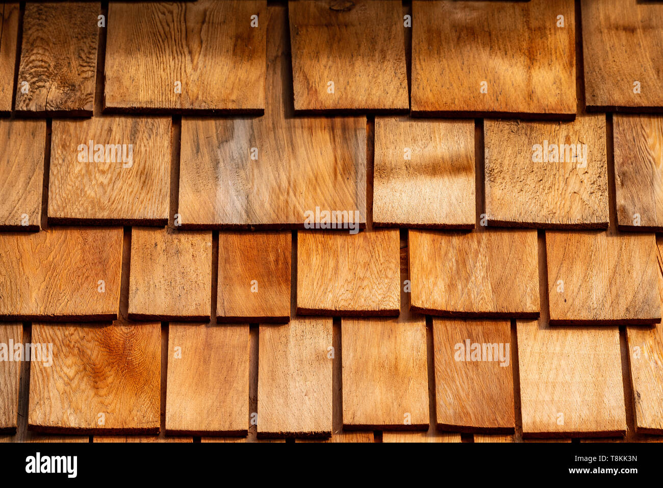 Detail shot of a wooden shingle roof - Stock Image