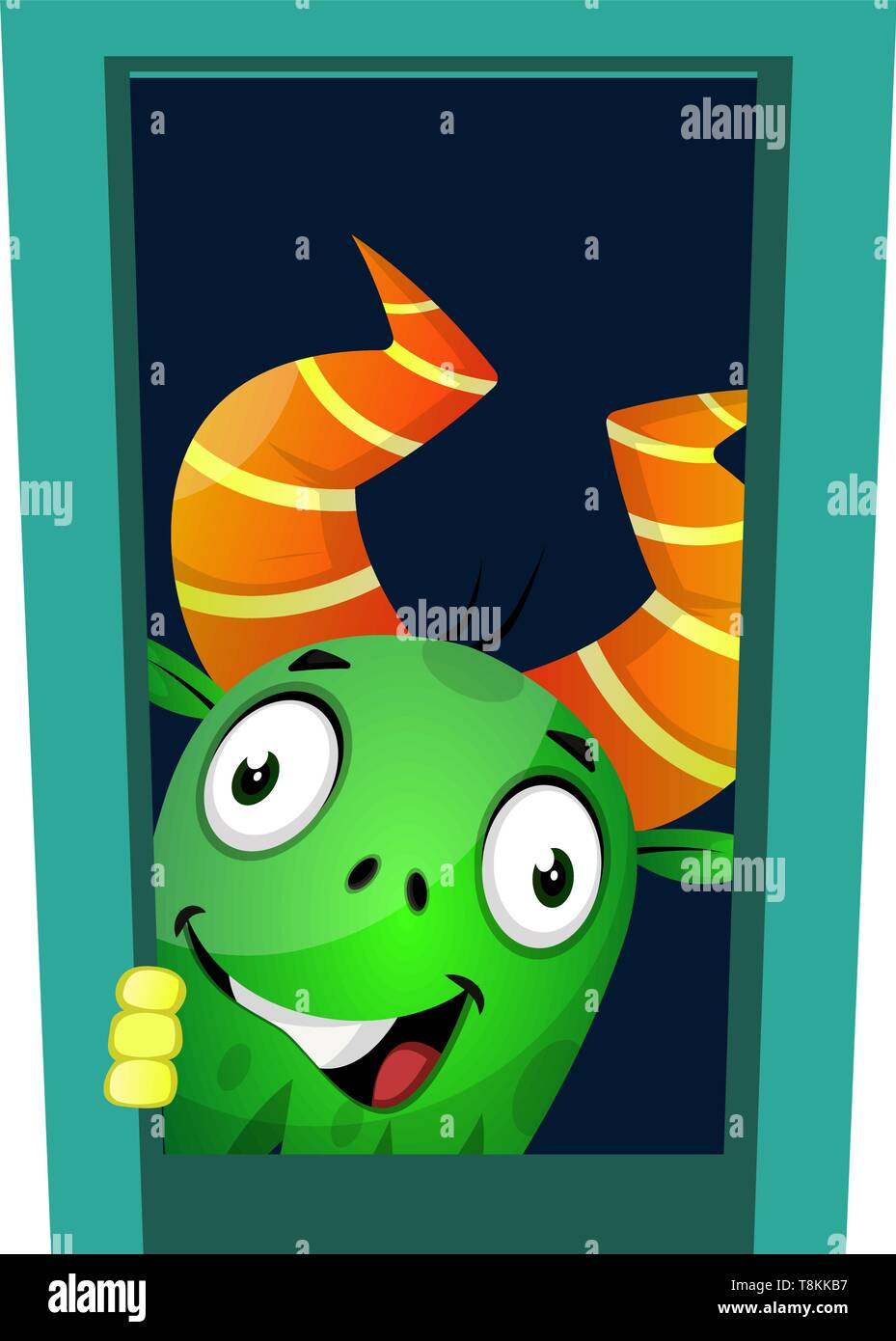 Monster looking through the window, illustration, vector on white background. Stock Vector