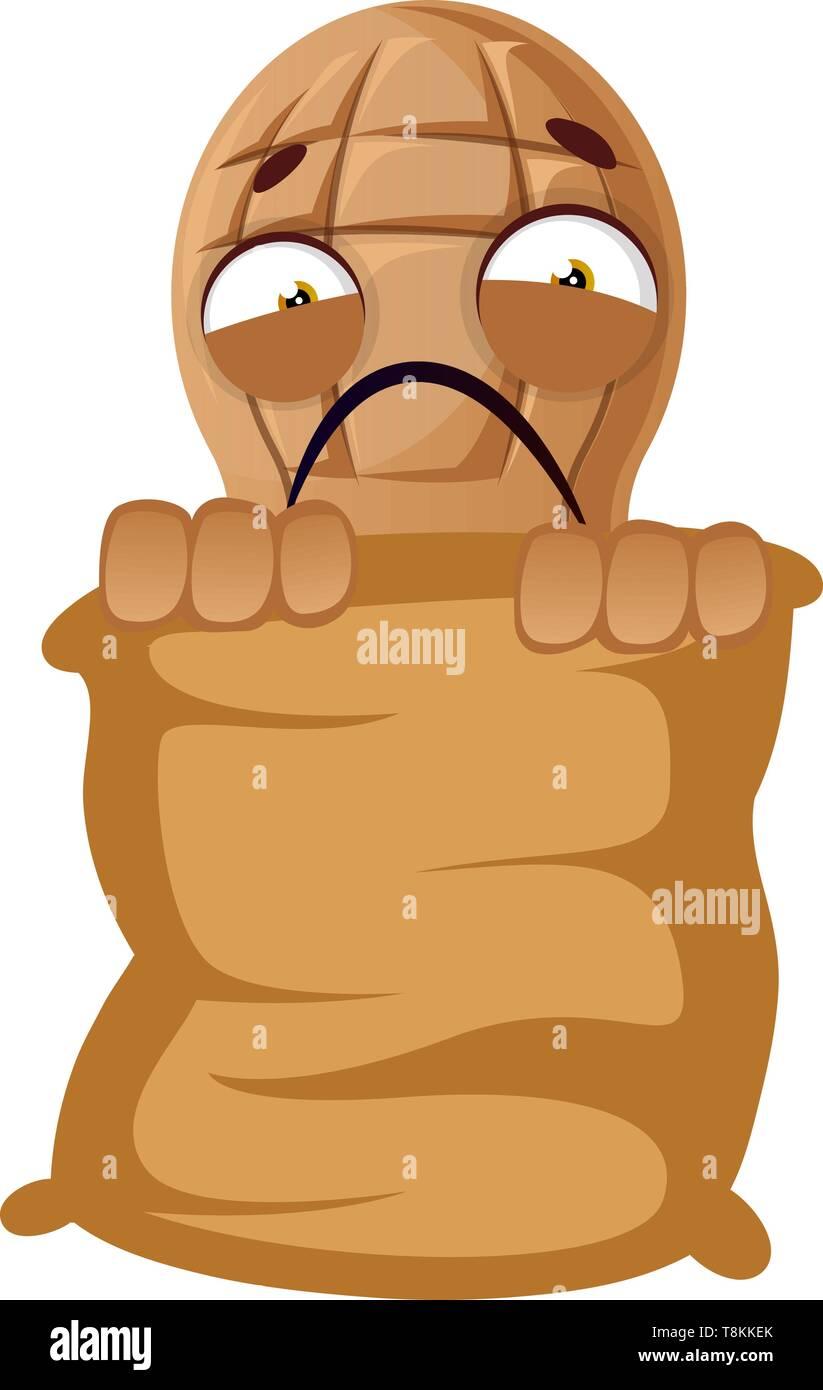 Peanut hiding behind big bag, illustration, vector on white background. Stock Vector