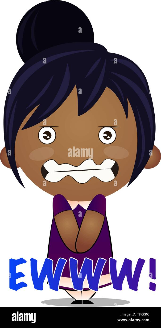 Little girl is feeling scared, illustration, vector on white background. - Stock Image