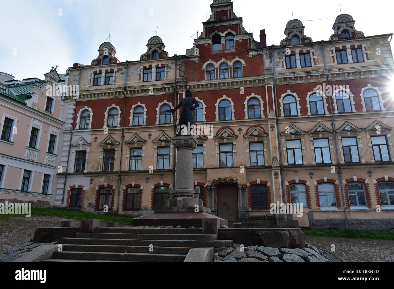 Viking monument. Down town square.  Hansa style architecture. Vyborg Russia - Stock Image