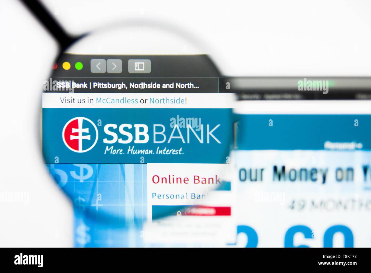 Richmond, Virginia, USA - 9 May 2019: Illustrative Editorial of SSB Bank website homepage. SSB Bank logo visible on screen. Stock Photo