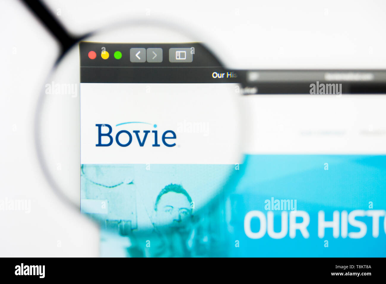 Richmond, Virginia, USA - 9 May 2019: Illustrative Editorial of Bovie website homepage. Bovie logo visible on screen. Stock Photo