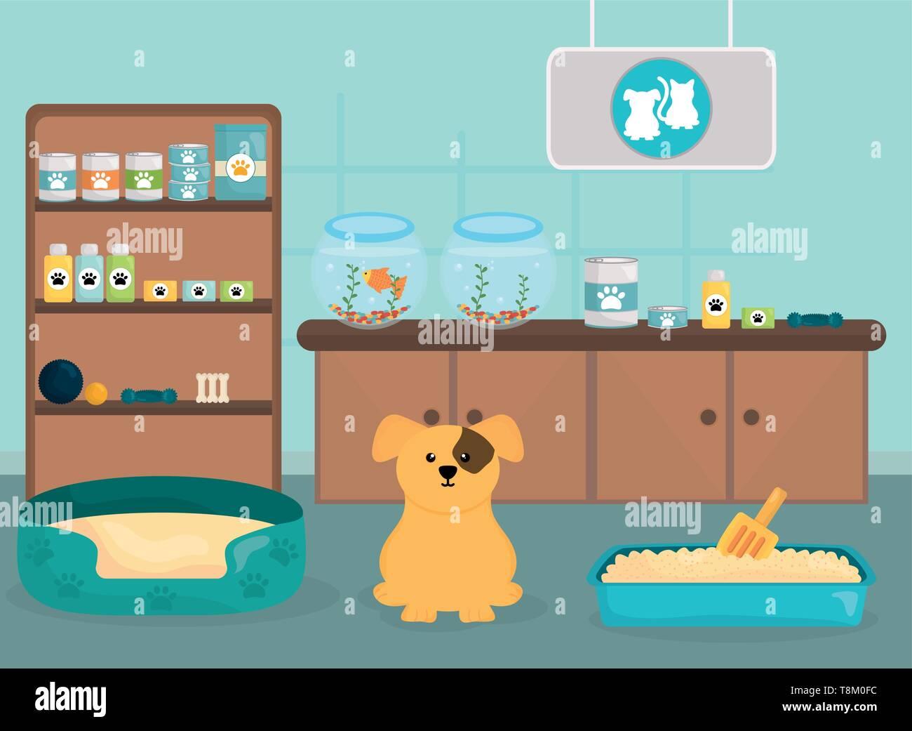 cute little dog in the veterinary vector illustration design - Stock Image