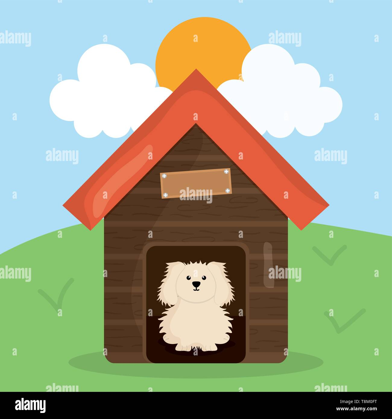 cute little dog in wooden house pet character vector illustration design - Stock Image