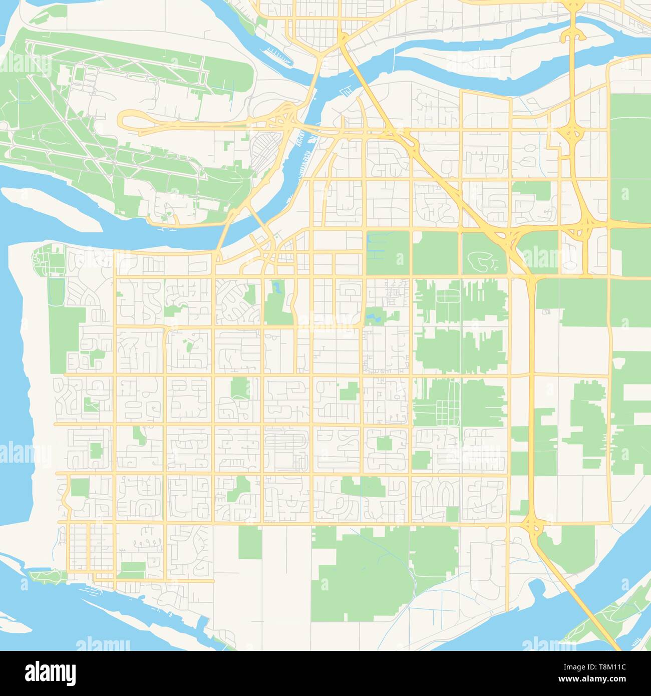 Empty vector map of Richmond, British Columbia, Canada, printable