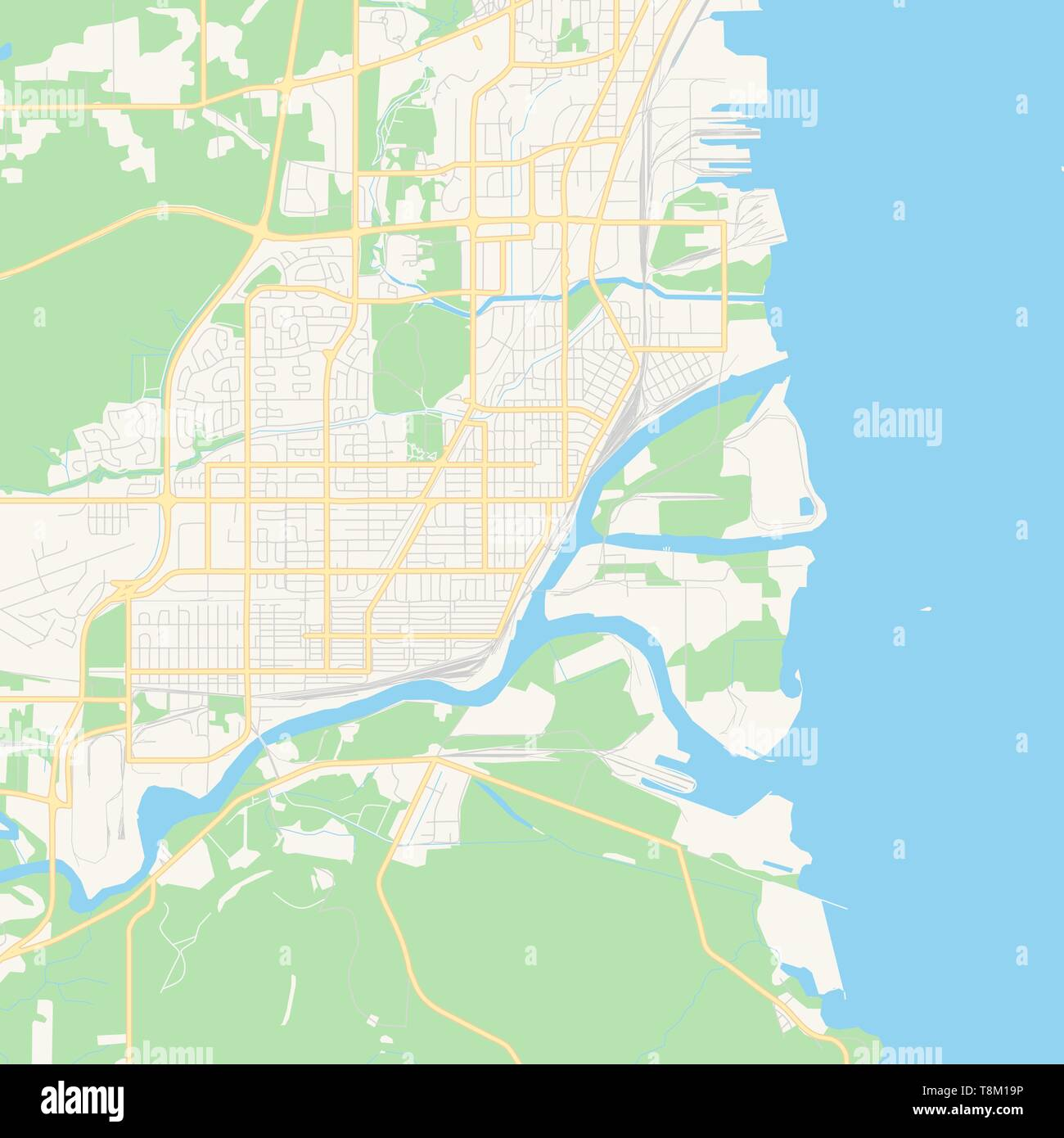 photo relating to Thunder Schedule Printable called Vacant vector map of Thunder Bay, Ontario, Canada, printable