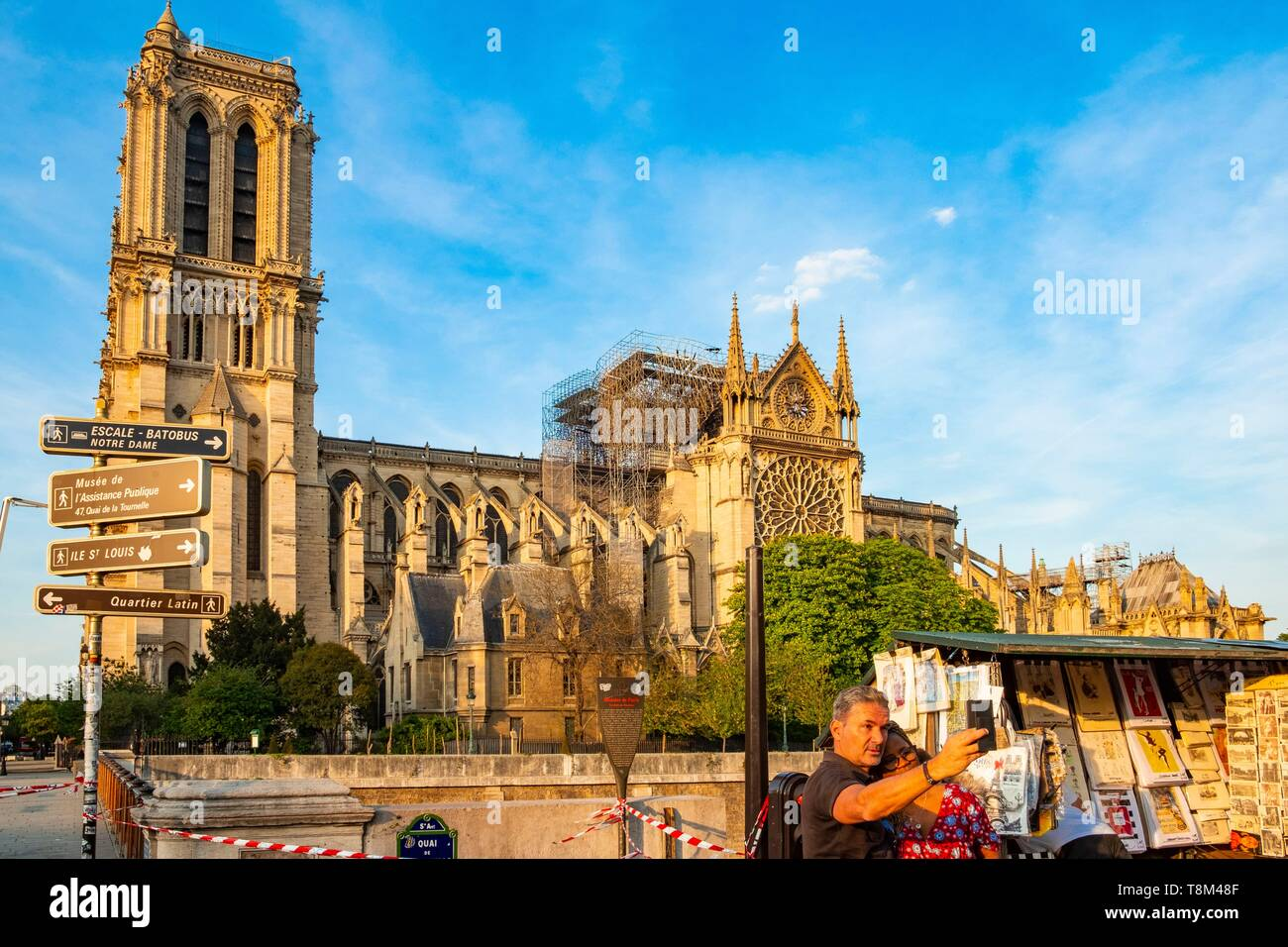 France, Paris, area listed as World Heritage by UNESCO, Ile de la Cite, Notre Dame Cathedral after the fire of April 15, 2019 - Stock Image
