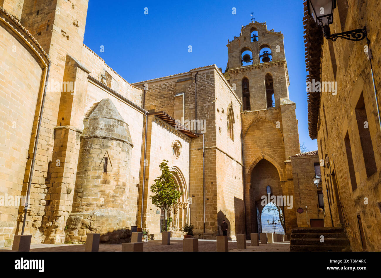 Laguardia, Álava province, Basque Country, Spain : Church of San Juan initially built in Romanesque style and completed in Gothic style. The bell gabl Stock Photo
