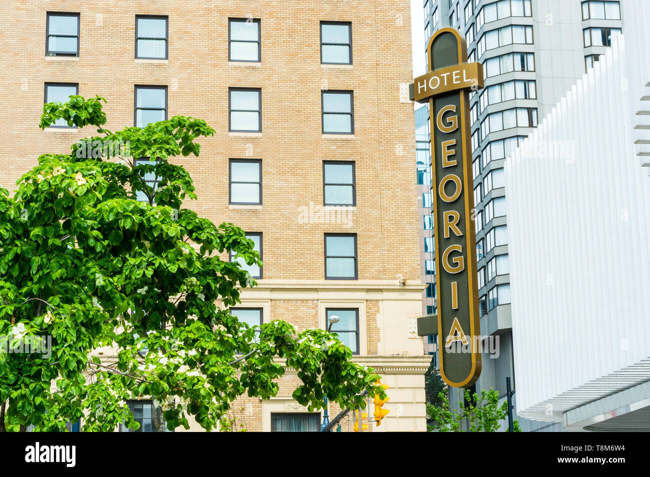 May 12, 2019 - Vancouver, Canada: Rosewood Hotel Georgia luxury accommodation building exterior at Georgia and Howe Streets. Stock Photo
