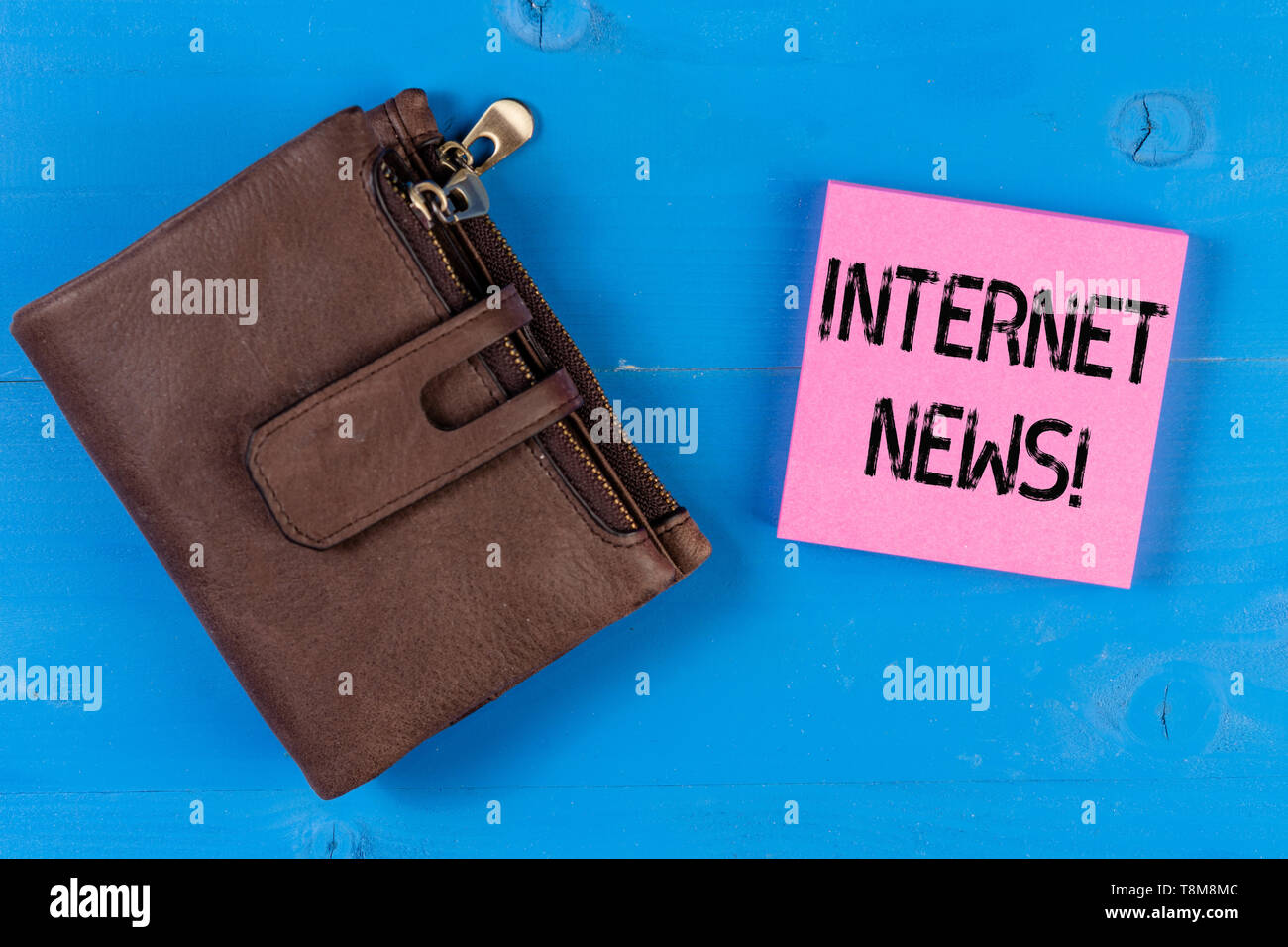 Conceptual hand writing showing Internet News. Concept meaning the information about current events published online - Stock Image