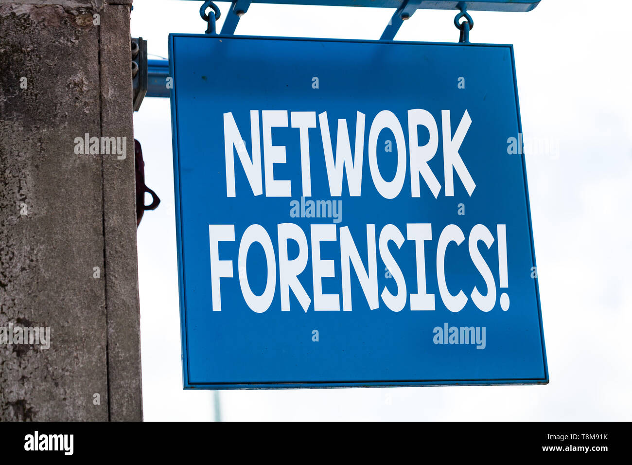 Writing note showing Network Forensics. Business concept for monitoring and analysis of computer network traffic - Stock Image