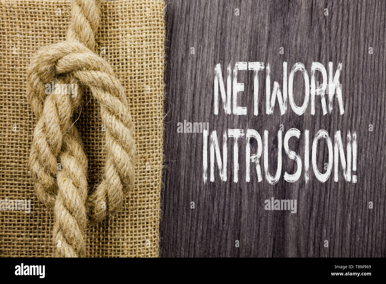 Text sign showing Network Intrusion. Business photo showcasing device or software application that monitors a network - Stock Image